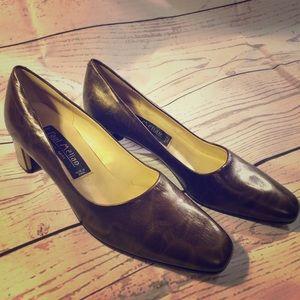PAUL MELIAN pumps bronze brass heel horseshoe 7.5
